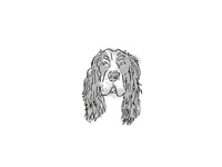 English Cocker Spaniel Dog Breed Cartoon Retro Drawing