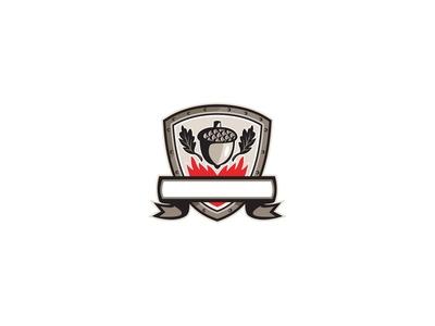 Acorn Oak Leaf Flames Shield Retro