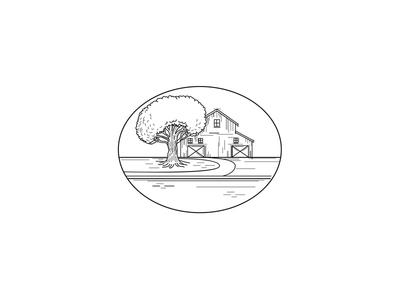 American Farm House or Barn Oak Tree Monoline Oval