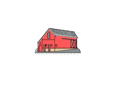 Red Farmhouse Barn Mono Line