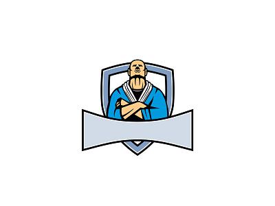 Brazilian Jiu Jitsu Master Shield Mascot arms martial arts fighter master judo jujitsu kodokan judo gracie jujutsu icon mascot