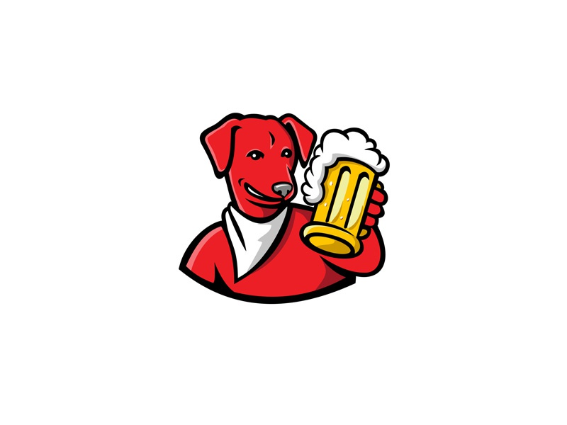 Red English Lab Dog Beer Mug Mascot brewery alcohol toasting brew pale pilsen ale mug beer english labrador mascot