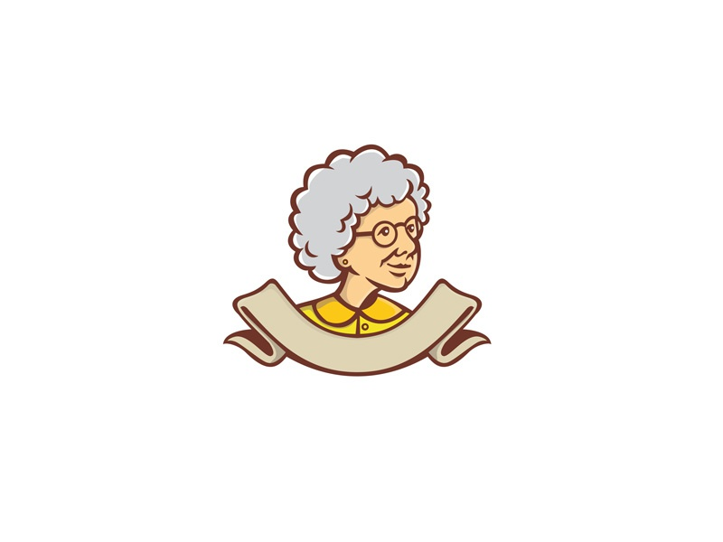 Grandmother Looking Side Ribbon Mascot head gray hair wife housewife cook woman female senior adult nanny granny grandmother retro