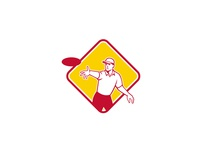 Disc Golf Player Throwing Mascot Diamond