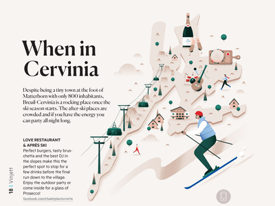 When in Cervinia lifestyle cervinia editorial magazine ski lodge wine winter mountain alps ski holiday map city pastel texture travel gradient flat vector illustration