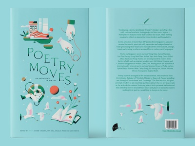 Poetry Moves - Book Cover print publishing red thread egret outerspace astronaut animal minimal blue bright clean poem poetry book jacket book book cover pastel flat vector illustration