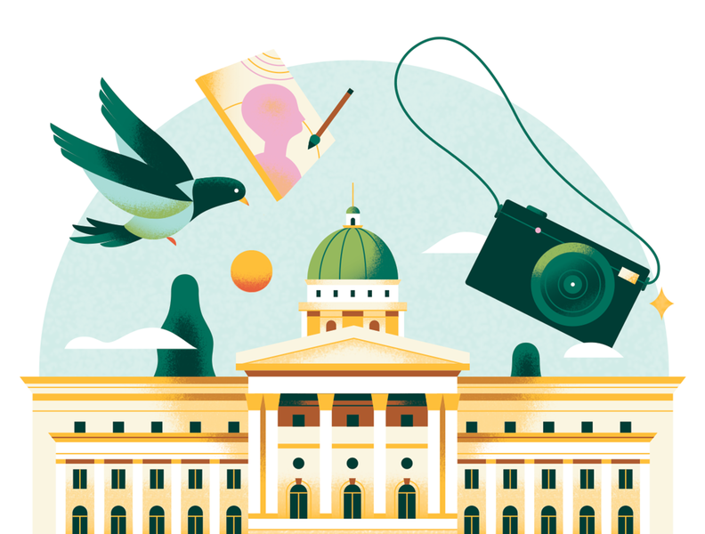 Discover Singapore - National Gallery bird bright editorial spot singapore museum painting camera pigeon city building architecture animal pastel texture travel gradient flat vector illustration