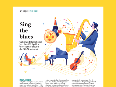 Jazz Clubs - Silkwinds April 2020 Travel Trends violin confetti lounge chill wine pizza grand piano pianist saxophone piano jazz music spot editorial bright texture travel flat vector illustration