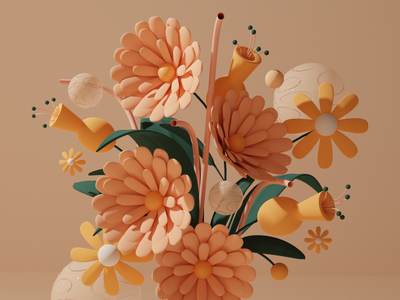 Flower Power pink 3d art yellow organic clean lighting leaf plant low poly floral soft color blender c4d 3d illustration 3d vase flower pastel illustration