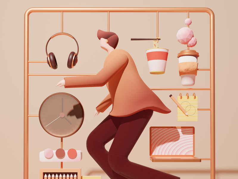 Artist's Essential Kit tools color person guy clock headphone ramen computer coffee artist diy figurine toy cinema4d c4d blender 3d illustration 3d pastel illustration
