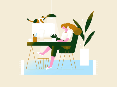 WFH Vibes #20Gifsfor2020 animation after effects animated looping gif bright working desktop table desk home office work from home wfh cat animal pastel gradient flat vector illustration