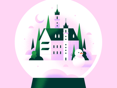 Snow Globe purple outdoor trees season mood building dreamy pink winter castle snow globe snowglobe snowman snow texture pastel gradient flat vector illustration