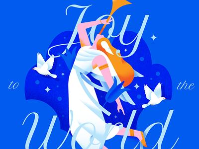 Joy to the World woman people neon blue festive celebration lockup flying bird pigeon christmas heaven angel bright texture pastel gradient flat vector illustration