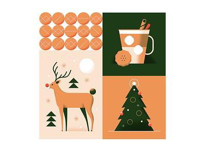 Happy Holidays! deer holiday celebration decoration bauble rudolf tree biscuit eggnog christmas hot drink cosy reindeer animal texture pastel gradient flat vector illustration