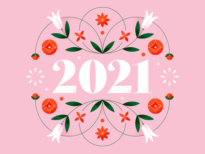 Happy 2021! lockup masthead plant floral art pattern soft 2021 floral pattern red pink design flower floral pastel gradient flat vector illustration