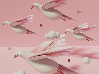 Adobe Aero - The Migration 3d art blender pigeon animal cloud minimal simple soft pink flying pastel bird virtual reality augmented reality adobe aero adobe vr ar 3d illustration