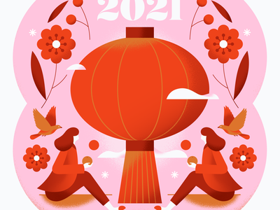 Happy New Year! celebration soft festive floral red flower people girl animal bird lunar new year lantern chinese new year chinese texture pastel gradient flat vector illustration