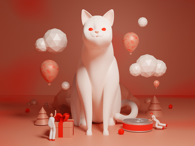 A Cat's World surreal figurine world building present gift 3d illustration cinema4d c4d soft white red window display diorama world blender 3d cat animal pastel illustration