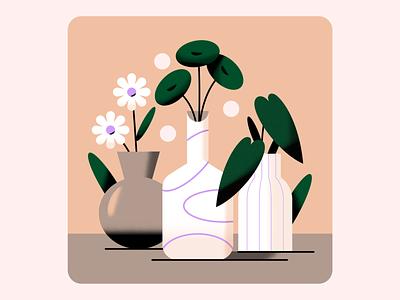 Succulents simple minimal nature bright bold soft green succulent pottery vase flower plant pot color texture gradient pastel flat vector illustration