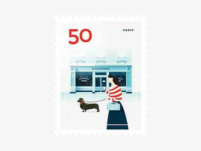 Stamp : Cities #5 - Paris girl dog paris europe bakery dachshund stamp architecture city travel vector illustration