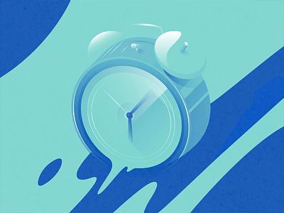 Time long shadow duotone blue alarm clock time pastel gradient flat illustration vector