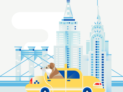 Dogs of The World - New York city brooklyn bridge chrysler empire state building bridge taxi illustration vector gradient building new york dog
