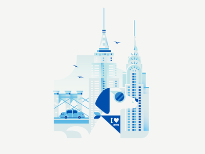 Dogs of The World - New York brooklyn bridge chrysler empire state building bridge taxi illustration vector gradient architecture building new york dog