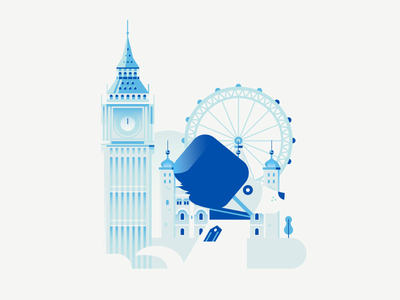 Dogs of The World - London ferris wheel clock london eye tower big ben illustration vector gradient architecture building london dog