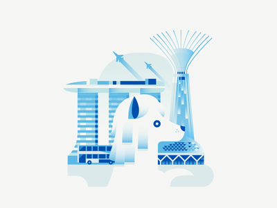 Dogs of The World - Singapore travel tower marina bay sands jet merlion illustration vector gradient architecture building singapore dog