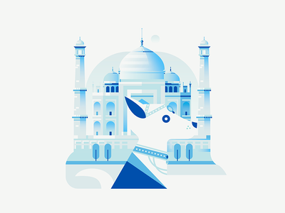 Dogs of The World - India architecture dog taj mahal castle india travel city bright flat gradient vector illustration
