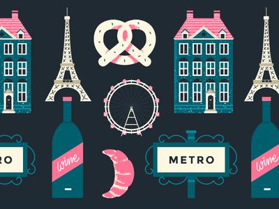 Pattern - Europe Holiday pattern pastry pretzel food wine eiffel europe building travel vector flat illustration