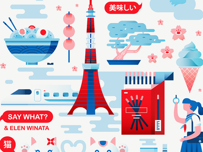 Say What? Illustrations swiss girl sakura bonsai ramen food travel japan gradient flat vector illustration