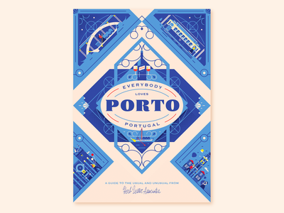 Herb Lester Associates - Porto Guide ornament wine layout retro herb lester lockup europe map travel flat vector illustration