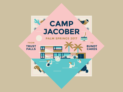 Camp Jacober desert vacation holiday pool palm summer illustration flat vector lockup logo masthead