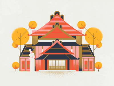 Airbnb 2018 Travel Trends - Ryokan oriental airbnb travel traditional ryokan japan building architecture texture flat vector illustration