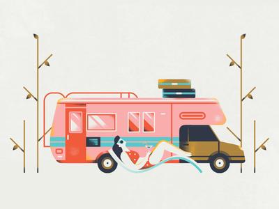 Airbnb 2018 Travel Trends - RV outdoor airbnb travel sunbathing summer road trip rv car texture flat vector illustration