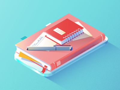 Education 3d planner diary notebook pen education school book gradient flat vector illustration