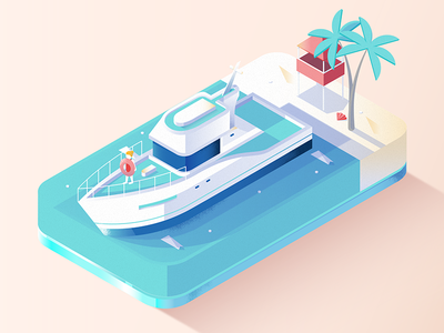 Low Poly - Yacht isometric 3d pastel low poly beach holiday ship travel yacht gradient vector illustration