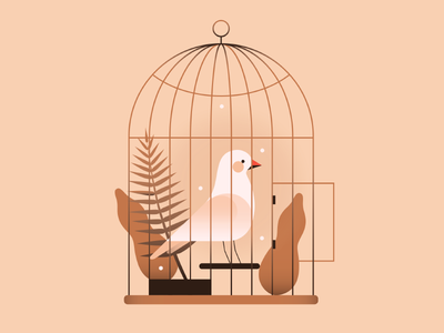 Caged Bird glow soft pastel chicken pet cage gradient bird animal flat vector illustration