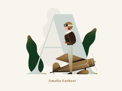 Phenomenal Women - Amelia Earhart aviator pilot travel plane woman people dropcap alphabet gradient flat vector illustration