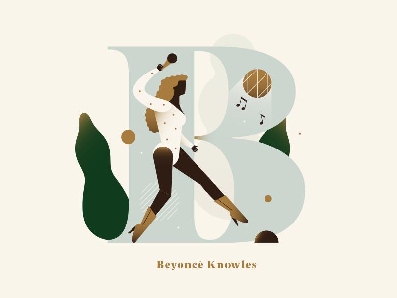 Phenomenal Women - Beyoncé Knowles music gradient pastel woman singer people typography dropcap alphabet flat vector illustration