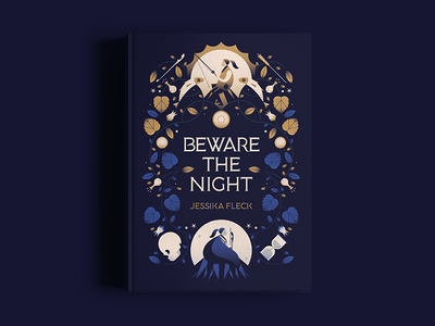 Beware the Night Cover skull novel plants vines mystery night book cover book dark gradient vector illustration