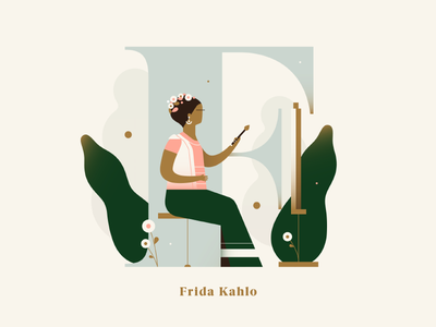 Phenomenal Women - Frida Kahlo painter vector gradient pastel plants letter dropcap alphabet frida frida kahlo woman illustration