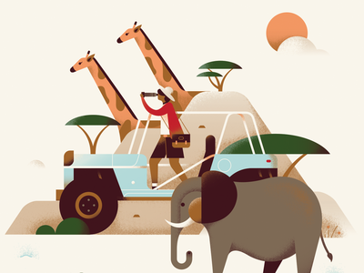 Silkwinds - Safari africa summer landscape color texture jungle wild jeep holiday giraffe elephant animal safari pastel travel flat vector illustration