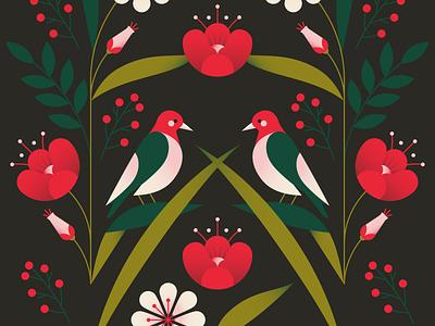 Birds animal petals foliage forest surface design pattern succulents leaf plants flower birds gradient flat vector illustration