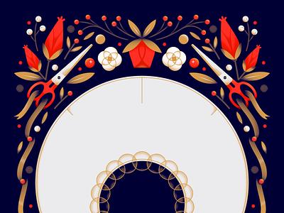 Bonnet seamstress dark decoration rose ribbon pattern tailor scissor flower floral vintage bonnet texture gradient flat vector illustration