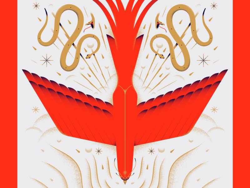 Fantastic Beast flying fairytale storybook fantastic art magical animal snake bird illustration texture gradient flat vector