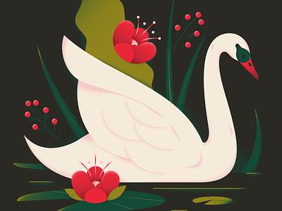 Swan water lily nature leaf plant forest dark bird floral flower swan animal texture gradient flat vector illustration