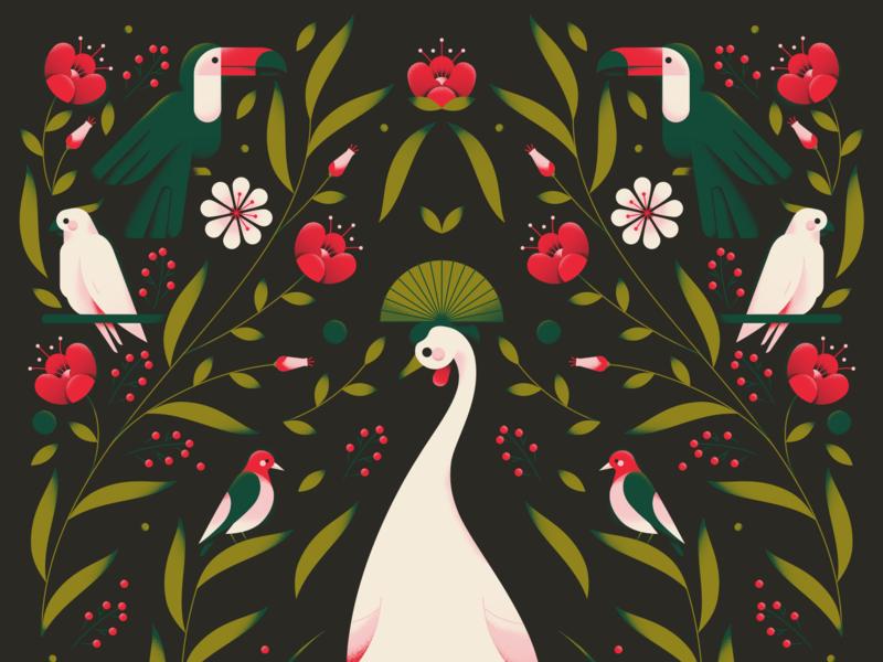 Birds of Paradise 2.0 garden toucan crane cockatoo leaf flowers pattern plants nature jungle forest animal birds pastel texture gradient flat vector illustration