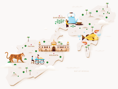 Map - East India tree website nature island victoria memorial street food tiger tea food india map city animal building architecture pastel travel flat vector illustration